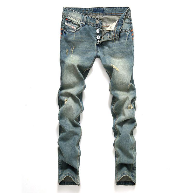 AIRGRACIAS Джинсы мужские классические мужские джинсы синего цвета с рваными хлопковыми отверстиями для мужчин, дизайнер бренда, байкер джинсовые длинные брюки