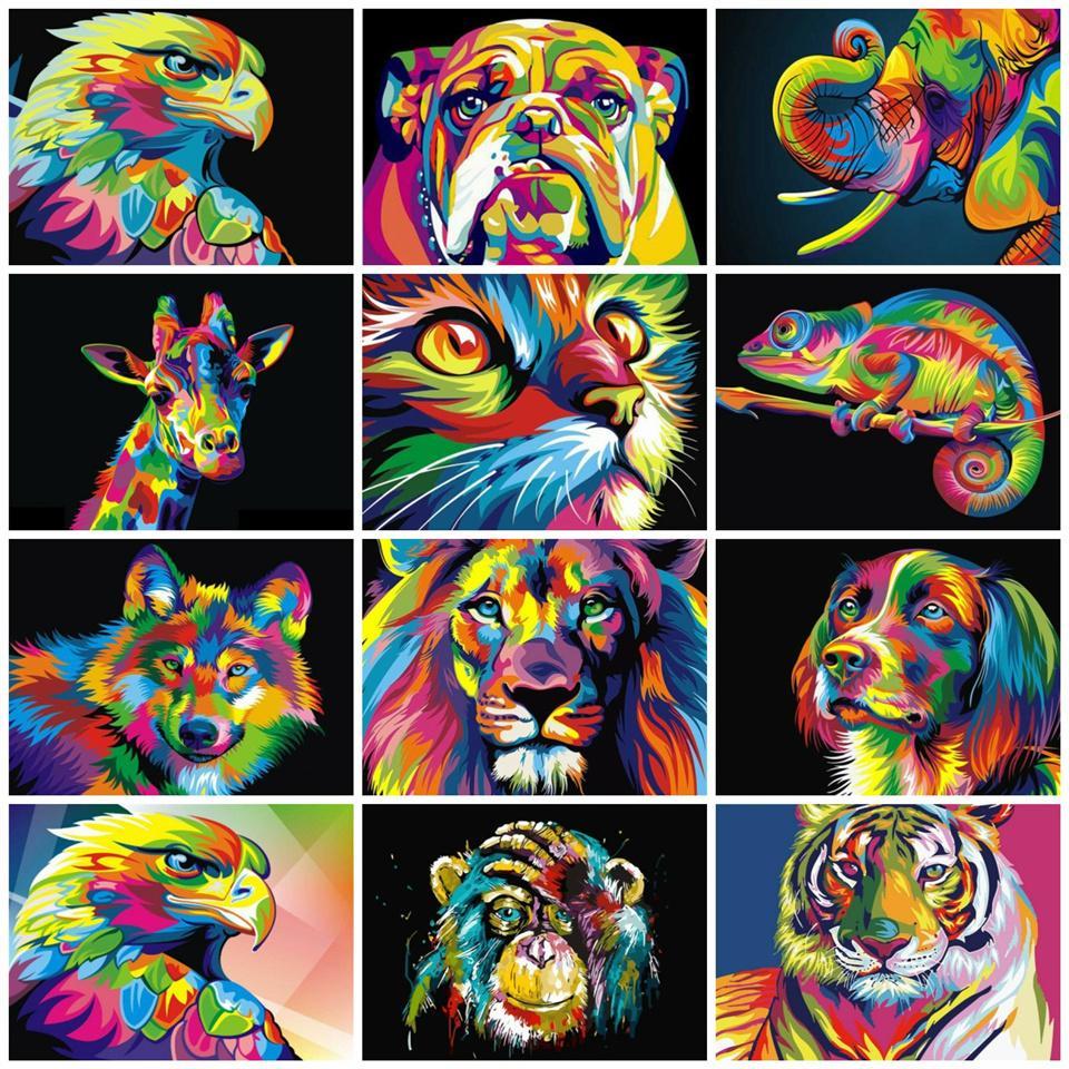 숫자 캔버스 벽 설정하여 숫자 세트 선물 색으로 숫자 동물 50x40cm 사진을 유화하여 페인트