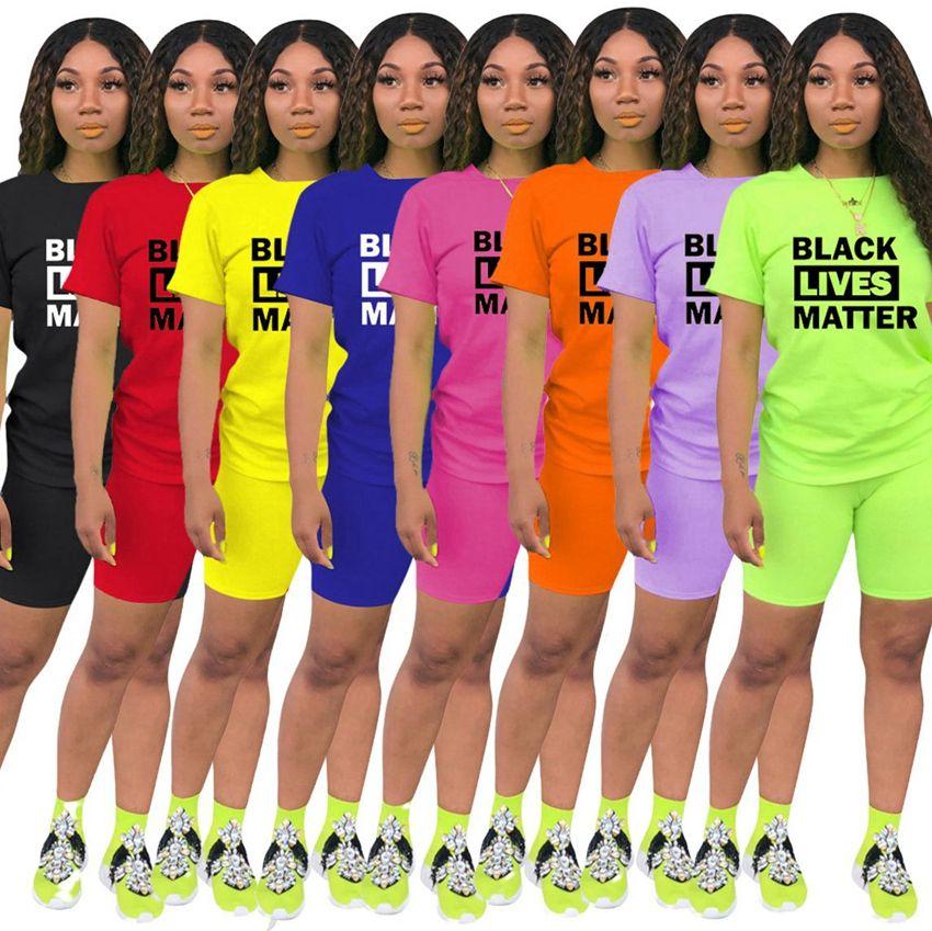 Lives Noir Matière 2 pièces Tenues courtes Ensembles pour femmes décontractées Sport manches courtes moulante courte Pantalon Survêtement Outfit T-shirts KKA7965