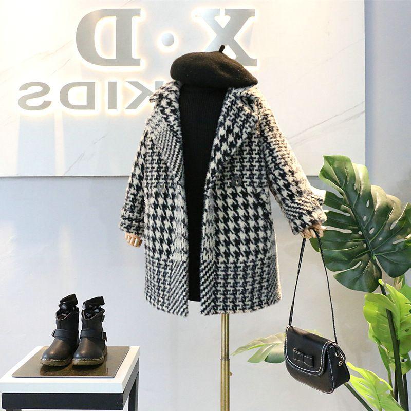 Escudo palmaditas-algodón otoño nueva llegada de moda las niñas pata de gallo capa de la chaqueta de la niña de invierno de los niños