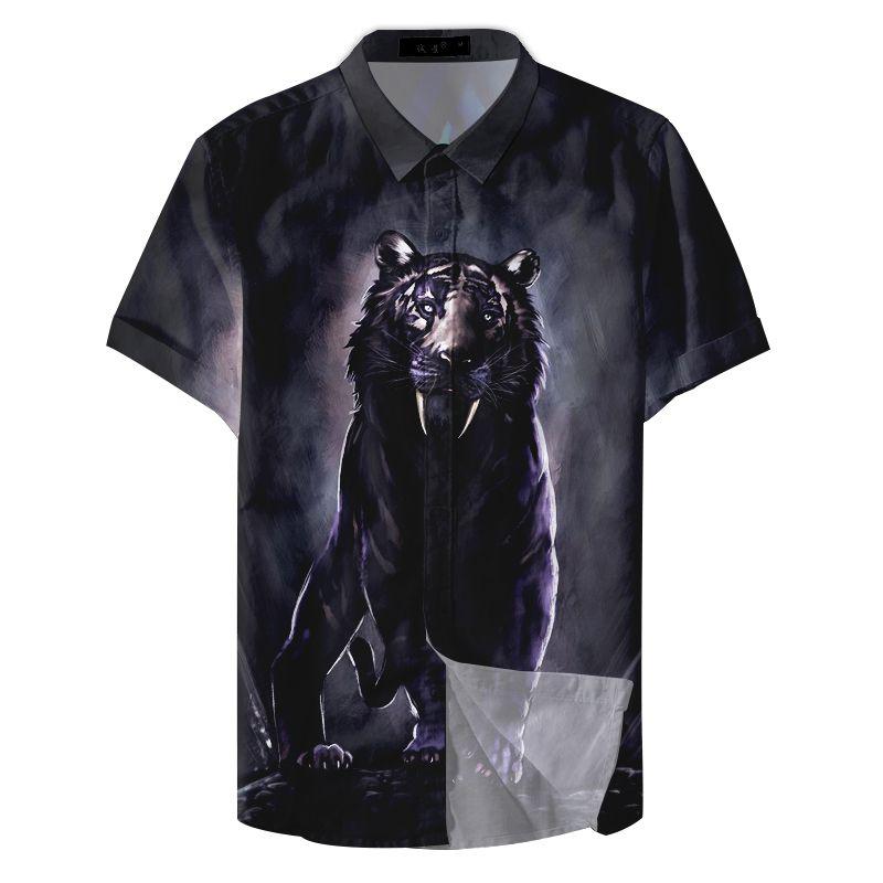 Männer losen Freizeitkleidung gedruckt Kurzarm Tiere Paattern Shirts