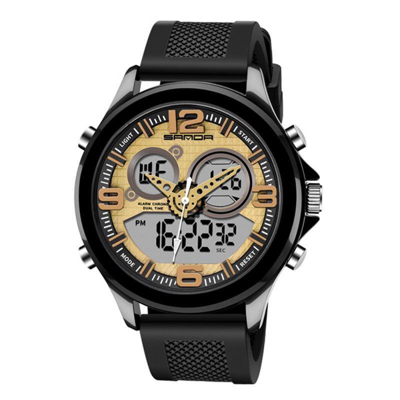 PANARS Spor İzle Erkekler su geçirmez Askeri Shock'ın 50Bar Su geçirmez Çift Ekran Kuvars Elektronik İzleme relógios Digitais