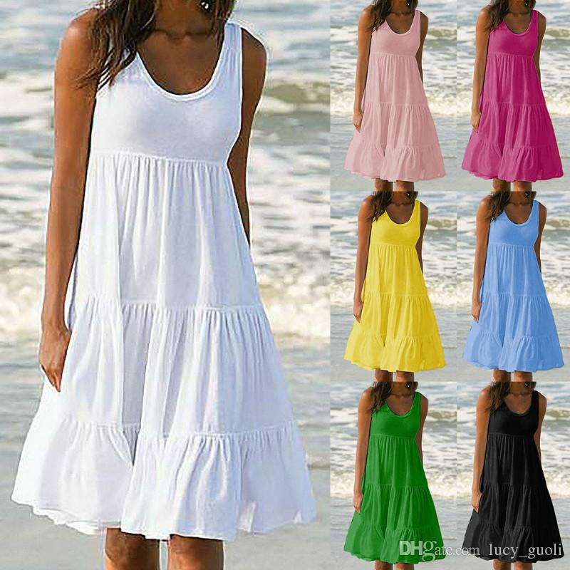 Summer dresses women 2019 Bohemian dresses Loose Solid Casual Sleeveless Beach Dress large sizes Party evening cocktail short mini Dress xxl