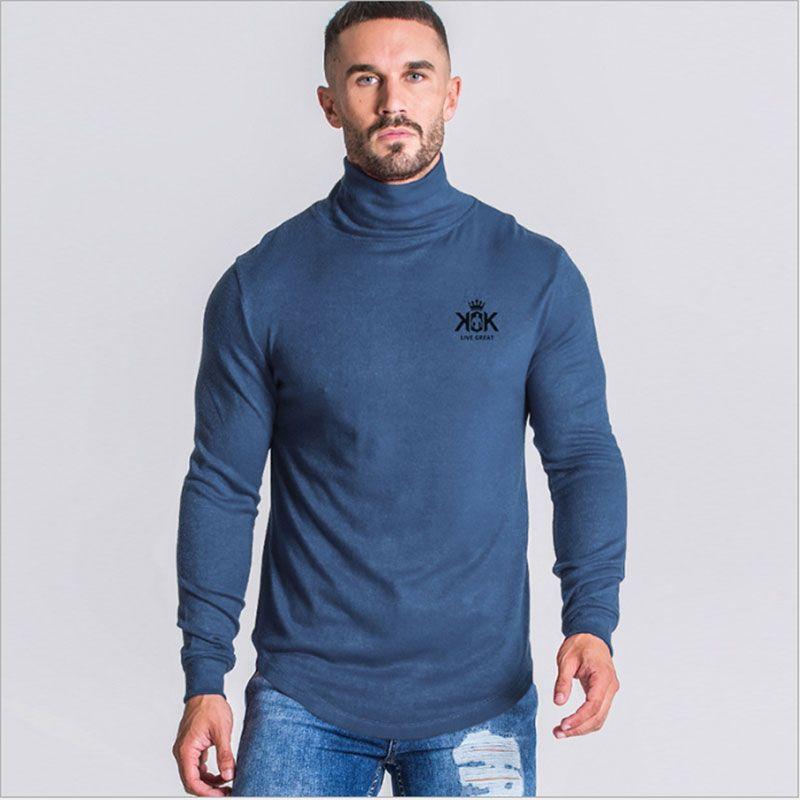 Nouveau chandail Hommes Slim Col haut épais Laine Casual Hiver chaud Pull hommes de couleur unie Imprimé Pull à manches longues