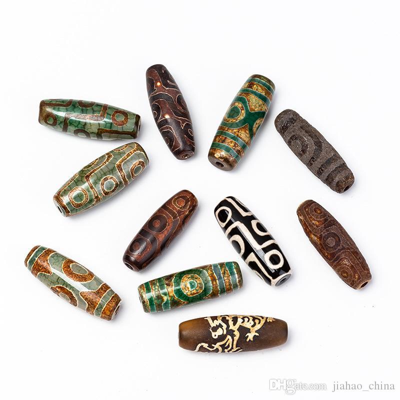 15 * 티베트어 두 눈이, 9 눈 DZI 자연 마노 돌은 DIY 목걸이 펜던트에 대한 골동품 오래된 느슨한 비즈 페르시 (40)