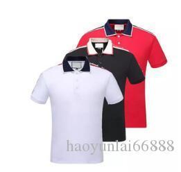 18ss verano los hombres ropa de diseñadores de etiqueta de serpiente de impresión mujeres ocasionales letra g del polo de cuello camiseta de tela de la camiseta camiseta tops 309 C119