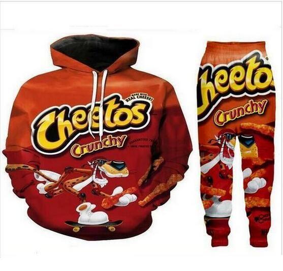 Neue Männer / Frauen heiße Cheetos Lustige 3D-Druck-Art- Tracksuits Crewneck Hip Hop-Sweatshirts und Hosen 2 PC stellt Hoodies TZ05
