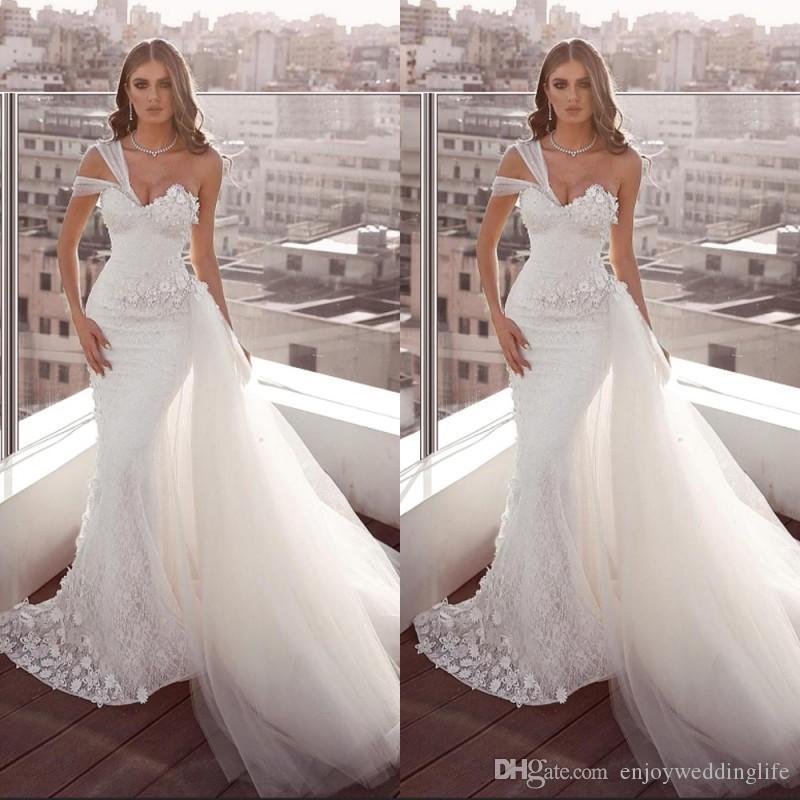 New Arrival White Full Lace Wedding Dresses Mermaid One Shoulder Backless Bridal Gowns With Detachable Tulle Train Beach Garden Vestido