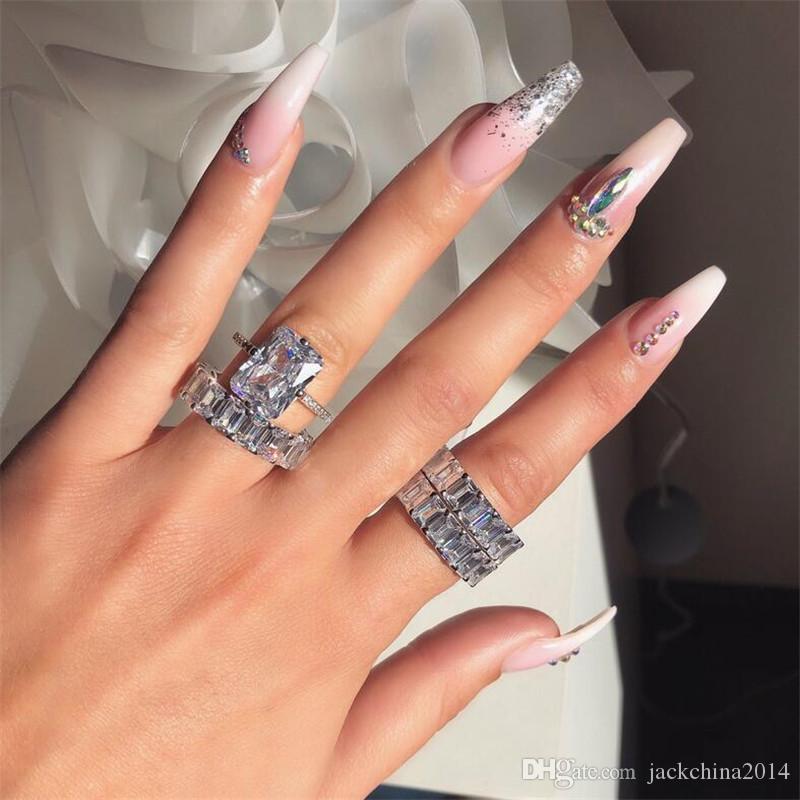 En Çok Satan Lüks Takı Çift Yüzük 925 Gümüş Prenses kesim Beyaz Topaz CZ Diamond Kadınlar Düğün Gelin Yüzük Seti İçin Lover Hediye