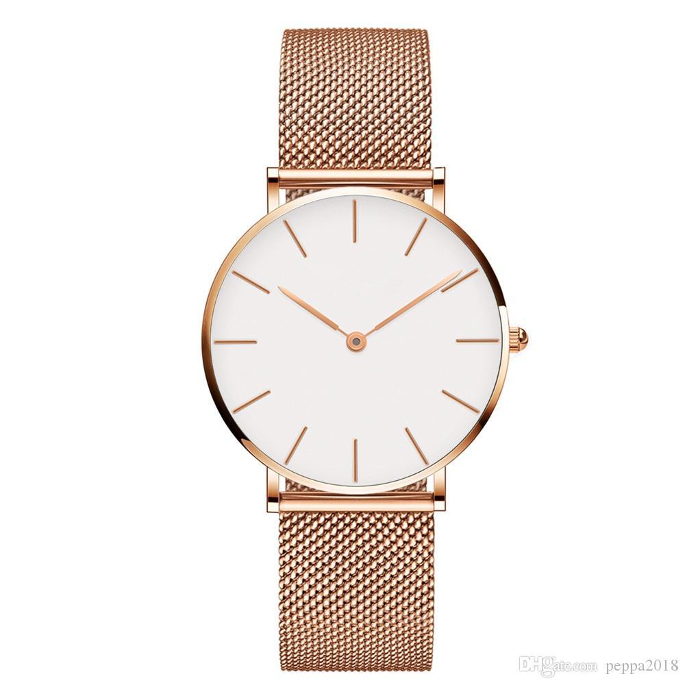 2019 Yeni Moda kadınlar saatler Kızlar Çelik şerit saatler 32mm Lüks Kuvars İzle Feminino Montre Femme Relogio Saatı drop shipping