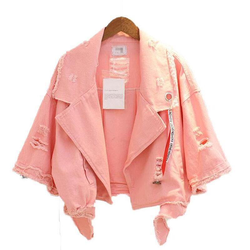 Colori luminosi denim cappotto Donne Bomber Scavi fuori Harajuku mezza manica cappotti monopetto risvolto Casual Jacket Autunno