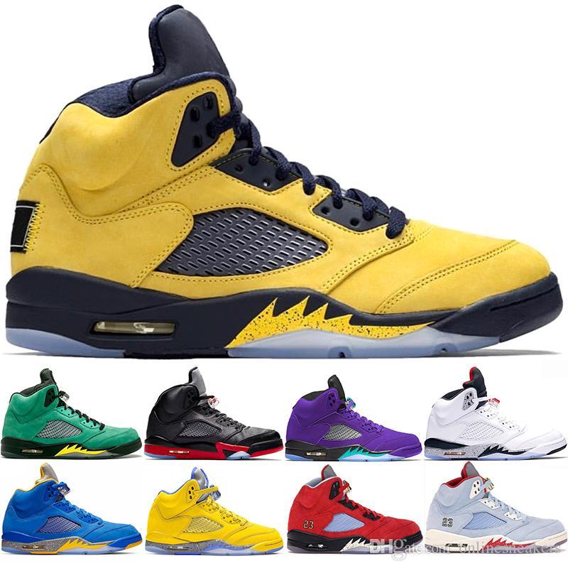 Nike Air jordan 5 Retro Zapatos de baloncesto de los hombres Tamaño 5 Chaussures 5s para hombre Azul Blanco Amarillo Rojo Fuego Metalizado Formadores deporte zapatilla de