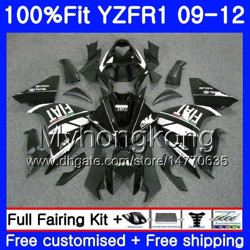 YAMAHA YZF 1000 R 1 YZF R1 2009 2010 2011 2012 241HM.37 YZF-1000 풀 블랙 핫 YZF-R1 YZF1000 YZFR1 09 10 11 12 페어링 키트