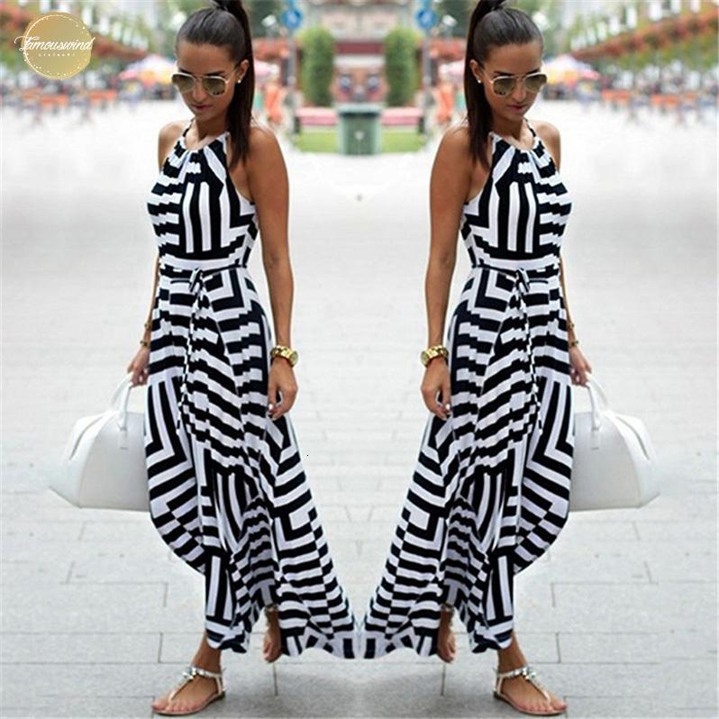 Sin mangas a rayas de vestir las mujeres atractivas del verano maxi largo del vestido de la playa de Boho Vestido de tirantes Vestidos Para Mujer Ropa de diseño Nq987428