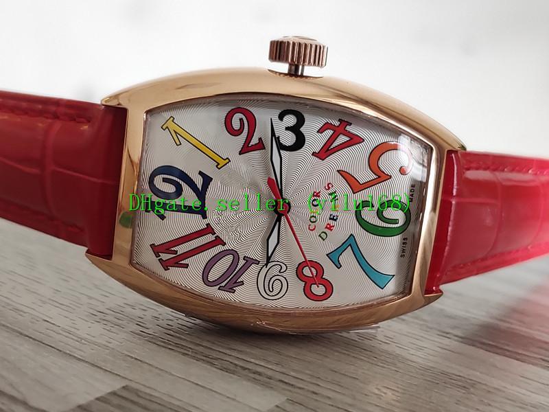 Alta donne COLORE qualità DREAMS 7851 SC Bianca Data Dial cassa in oro rosa 2813 donne meccanici automatici vigilanza di cuoio rosso Strap Sport Watch
