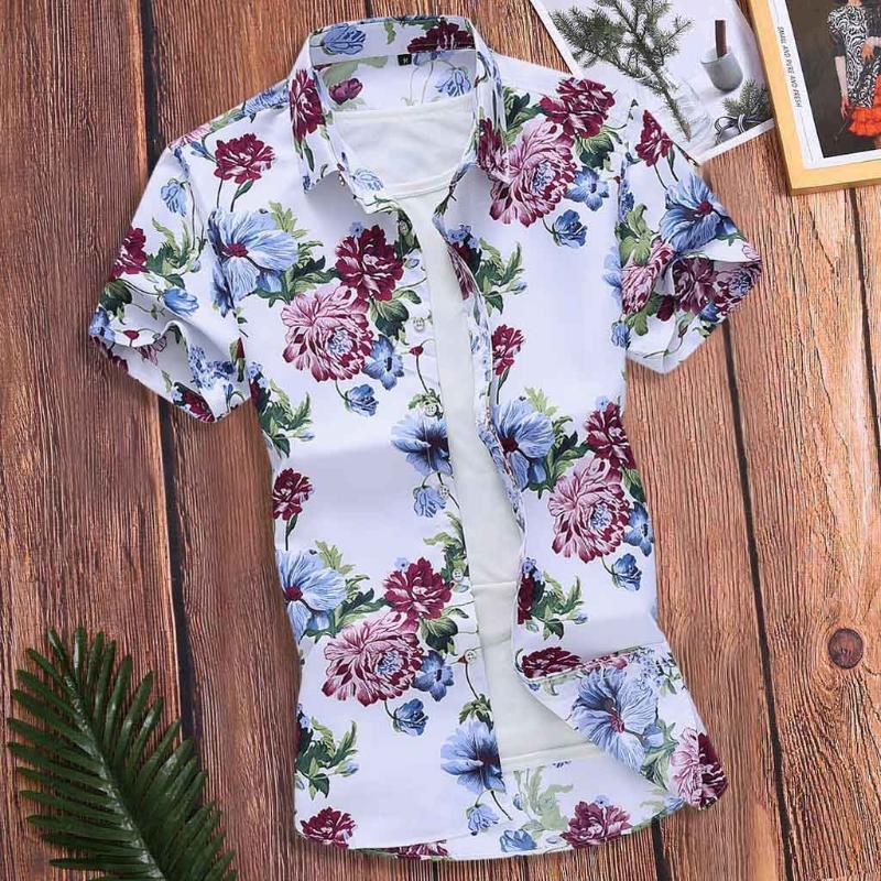 Günlük Yaka Gömlek Erkek Hawaii Gömlek Plaj Hawaii Gömlek XSlim Gevşek Hawaii Kısa Kollu Baskılı aşağı çevirin # 4.2 Tops