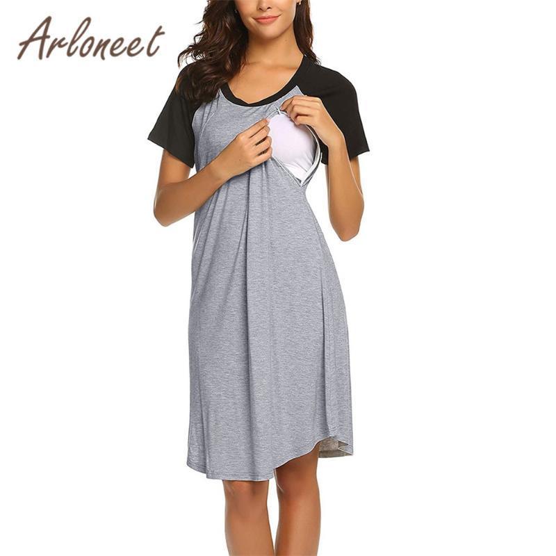 Vestidos de maternidad Vestido de ropa Arloneet Mujeres sueltas O cuello de ancianos bebé verano ropa de dormir damas embarazo casual