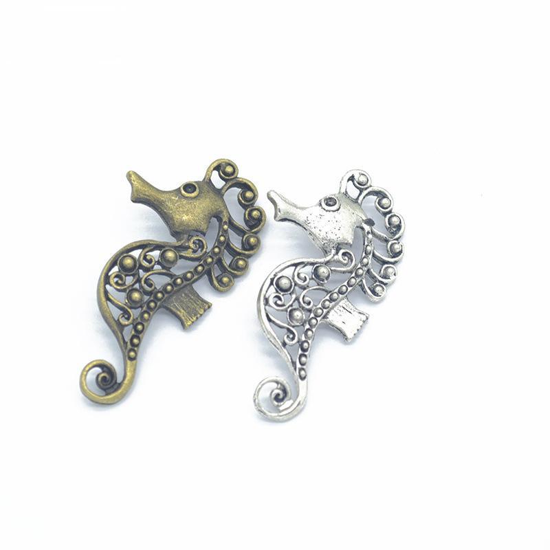 20pcs / pack fascini Seahorse Jewelry DIY che fanno i braccialetti del pendente misura le collane orecchini fatti a mano Mestieri d'argento di fascino del bronzo