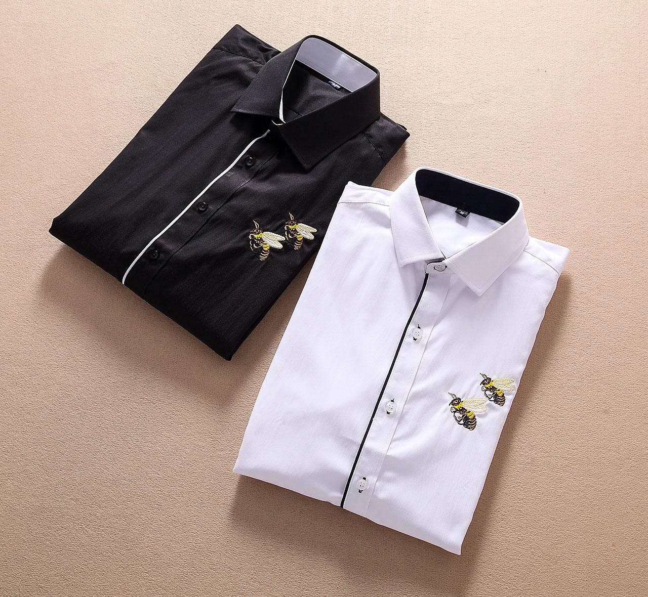 Fashion-Brand Bees design Long Sleeve Men's Casual Shirts G122 Italy style Lapel dress tees Embroidery Tiger snakes T-Shirt