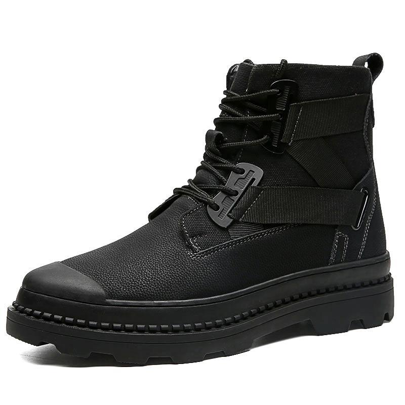 2020 SICAK Yeni Büyük Boy 38-46 Erkekler Ayakkabı Yüksek Kalite Gerçek Deri Erkek Bilek Boots Moda Kış Erkekler Boots Fur ile gündelik Ayakkabı Isınma