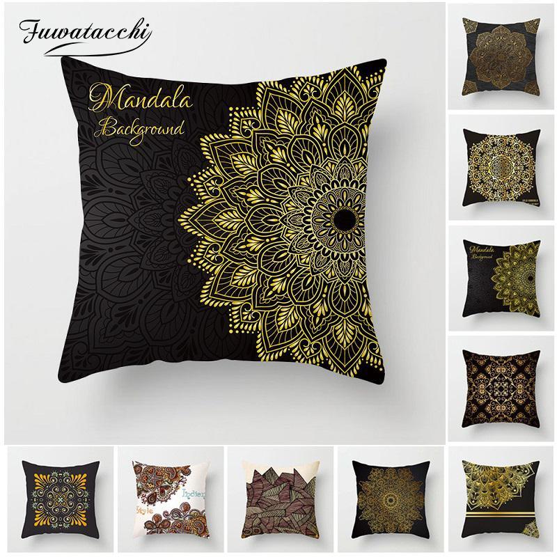 Fuwatacchi Housse de coussin Mandala Bohemian géométriques Taie d'oreiller Couverture Emboutissage Pour Canapé Chaise Décor Fleur Pillowcases