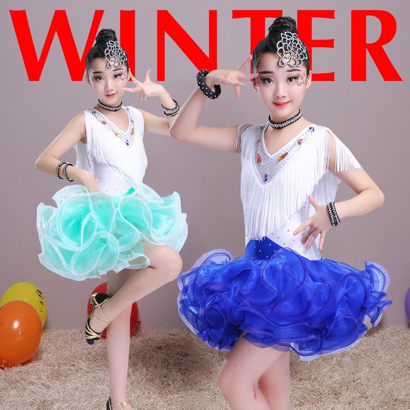 Nueva alta calidad para niños trajes de baile latino para niños trajes de baile latino ropa de rendimiento borlas Pettiskirt