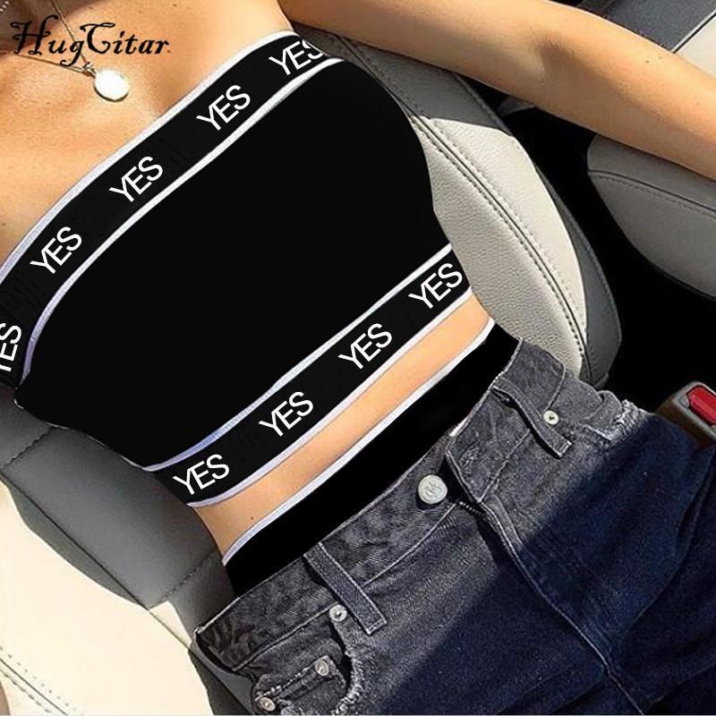 Hugcitar letras estampadas patchwork sexy tank tops 2019 verano mujeres moda club streetwear mujer crop tops