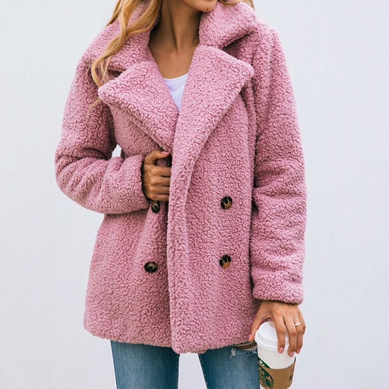 Les femmes en peluche Vestes d'hiver 2019 Boutons de manteau chaud manteau poches unique poitrine Fluffy Teddy Outwear 3XL Taille Plus GV793 V191209