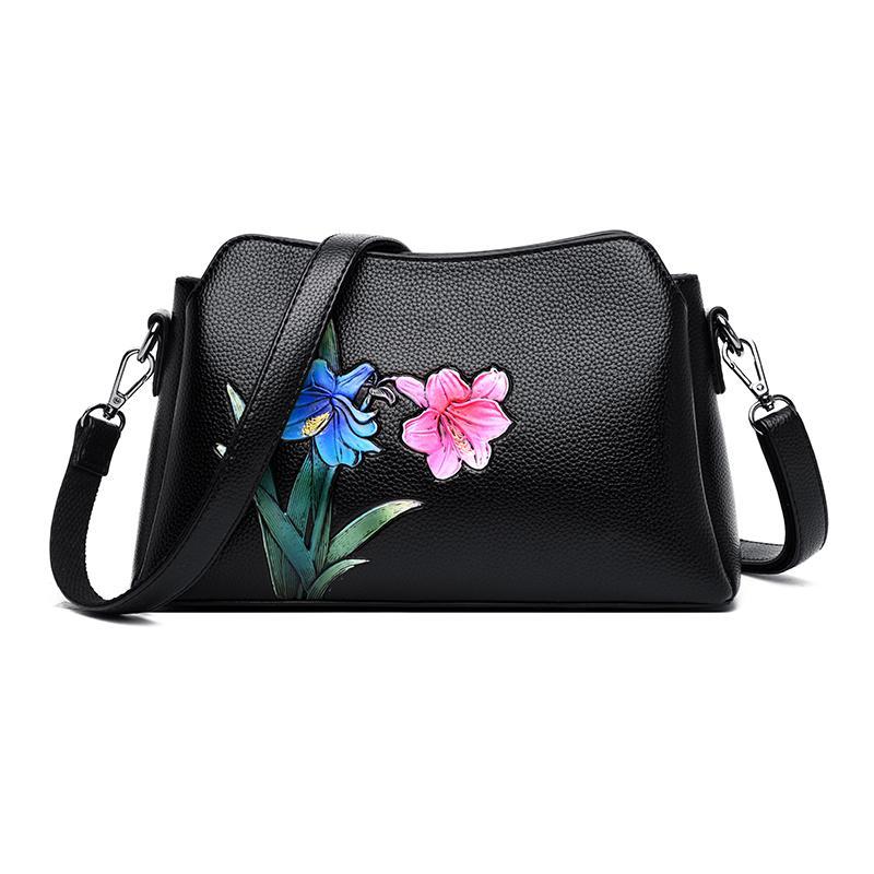 여성 2019 클러치 가방 데이 클러치 손으로 그린 꽃 여성 메신저 어깨 가방 가죽 핸드백 가방