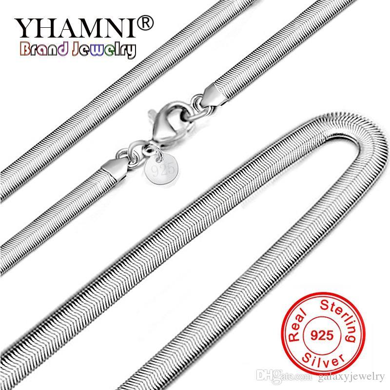 YHAMNI Original 100% 925 Sterling Silver Soft Snake Bone Necklace For Women Smooth Chain Necklace Women Gift Wedding Jewelry YN193