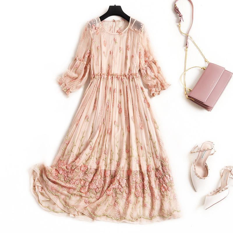 2020 Летние женщины Мода High-End Вышитые Цветочного 100% Mulberry Silk Chiffon 3/4 фонарики рукав Корейского плюс размер платье