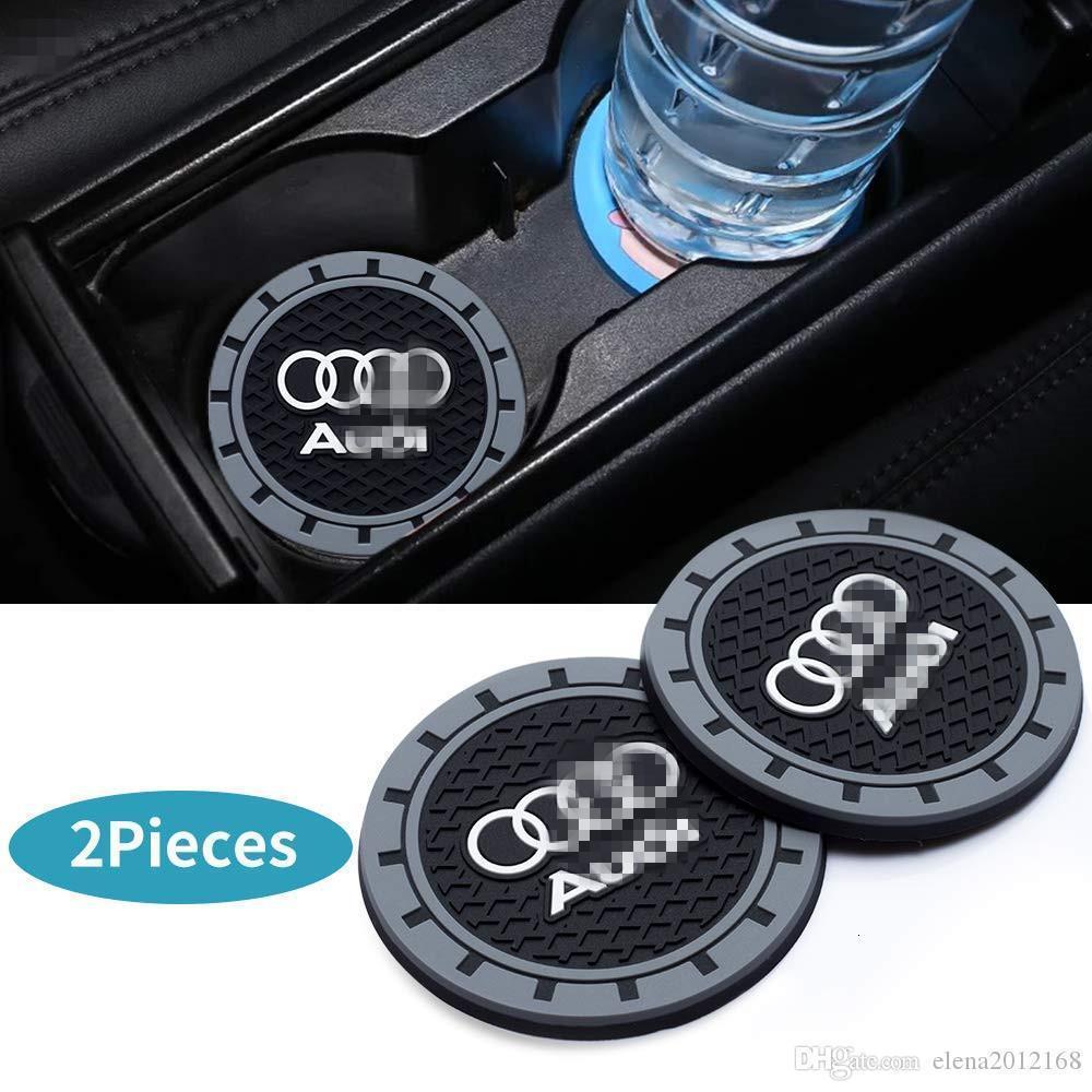 아우디 A3 S3 RS3 A4 S4 A5 S5 RS5 A6 S6 A7 S7 RS7 A8 Q3의 Q5 SQ5의 Q7의 Q8 2 PC를 2.75 인치 자동차 인테리어 액세서리 안티 슬립 컵 매트