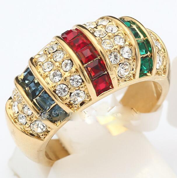 Jewelryr Jade Ring wholesale Fashion Simulated Gem Ring 18KGP & Crystal Size 6-9 Free Shipping