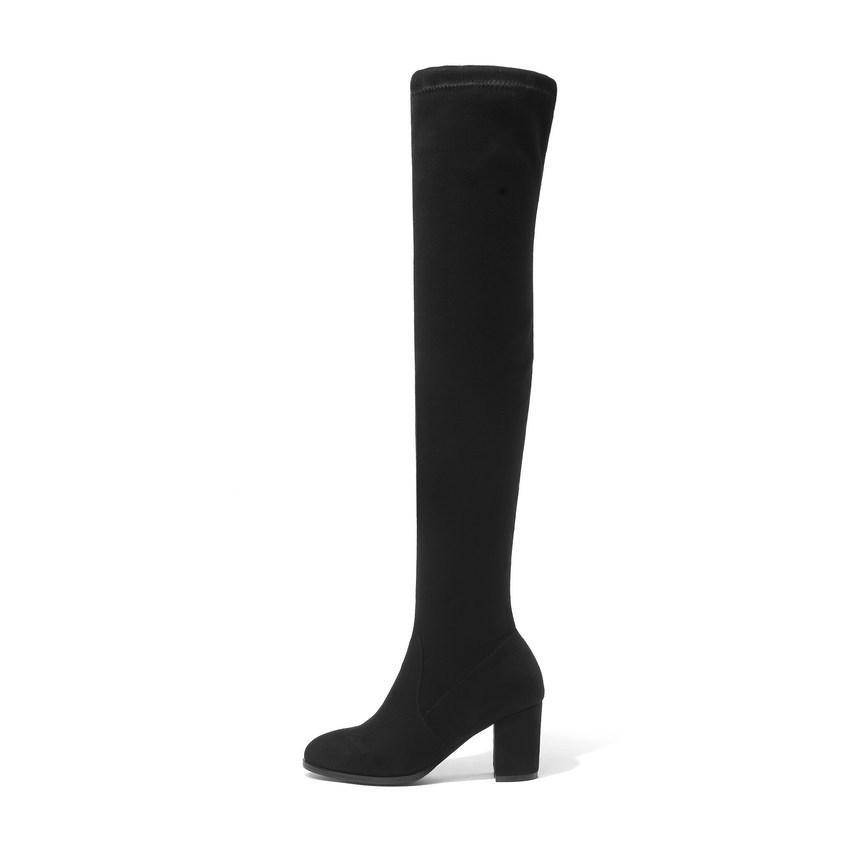 QUTAA 2020 sopra il ginocchio Piazza tacco alto scarpe piattaforma inverno Tutti termini Stivali Donne sexy Size 34-43 MX200324