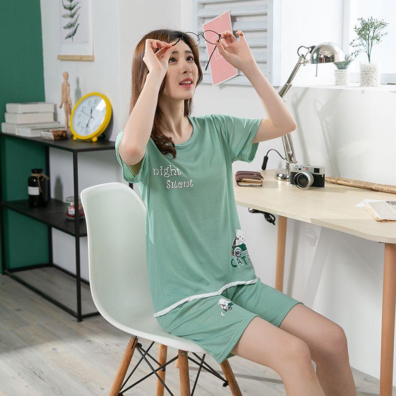 Vente chaude d'été à manches courtes Cartoon mince Copie mignonne de nuit 2020 Fille Pijamas Mujer Loisirs Homewear femmes Ensembles Pyjama