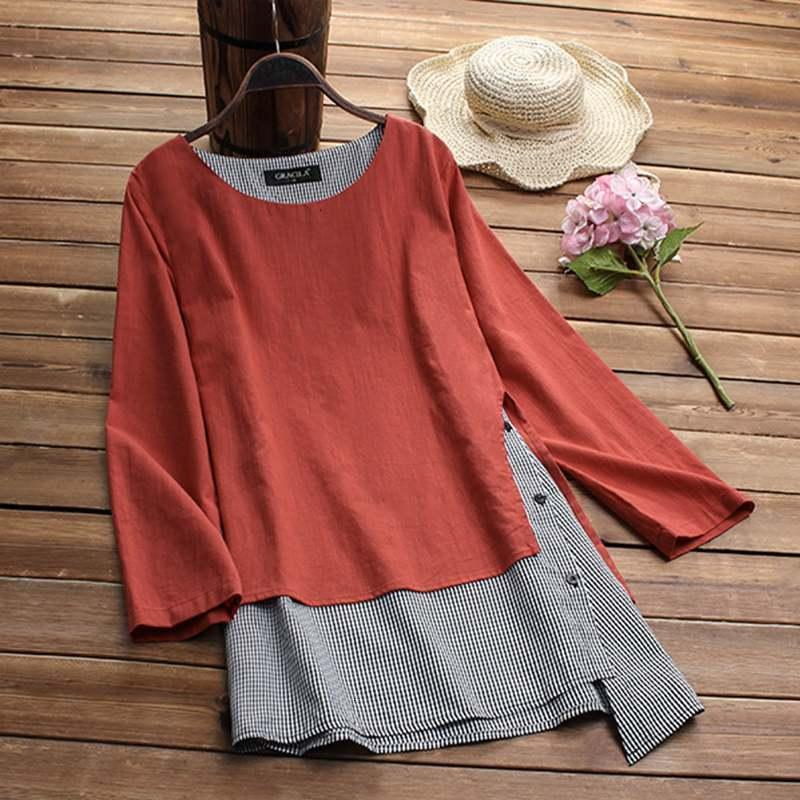 Women Blouse Women Blouses Plus Women Linen Blouse 2019 Spring Casual Tops Female Check Femme Asymmetrical Blusas Button Shirt Chemise
