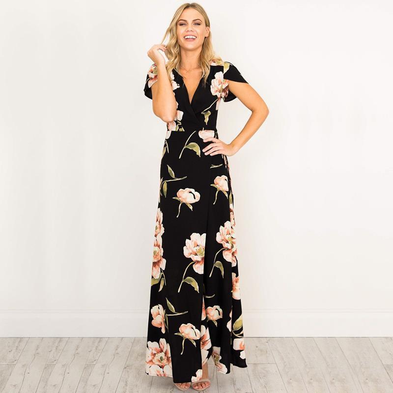Donne retrò nero abiti con scollo a V maxi vestito stampato floreale abito da festa madre della sposa abiti donna vestidos Ws647c Y19051001