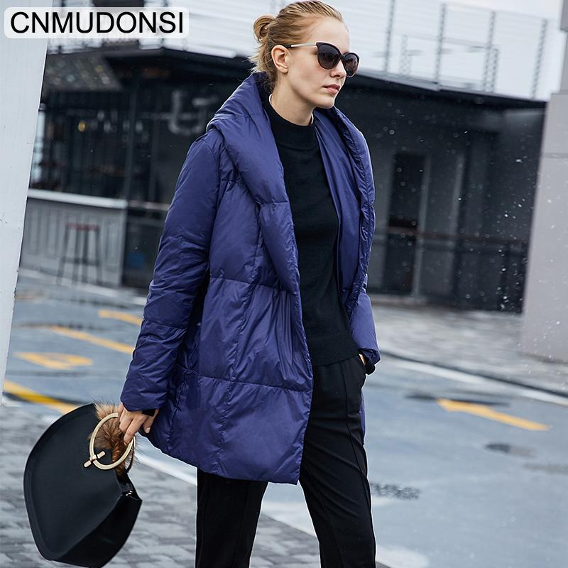 Womens moda CNMUDONSI New Casacos de inverno das senhoras impermeável Curto Moda Casacos na moda com capuz Casual Longo acolchoado Jackets