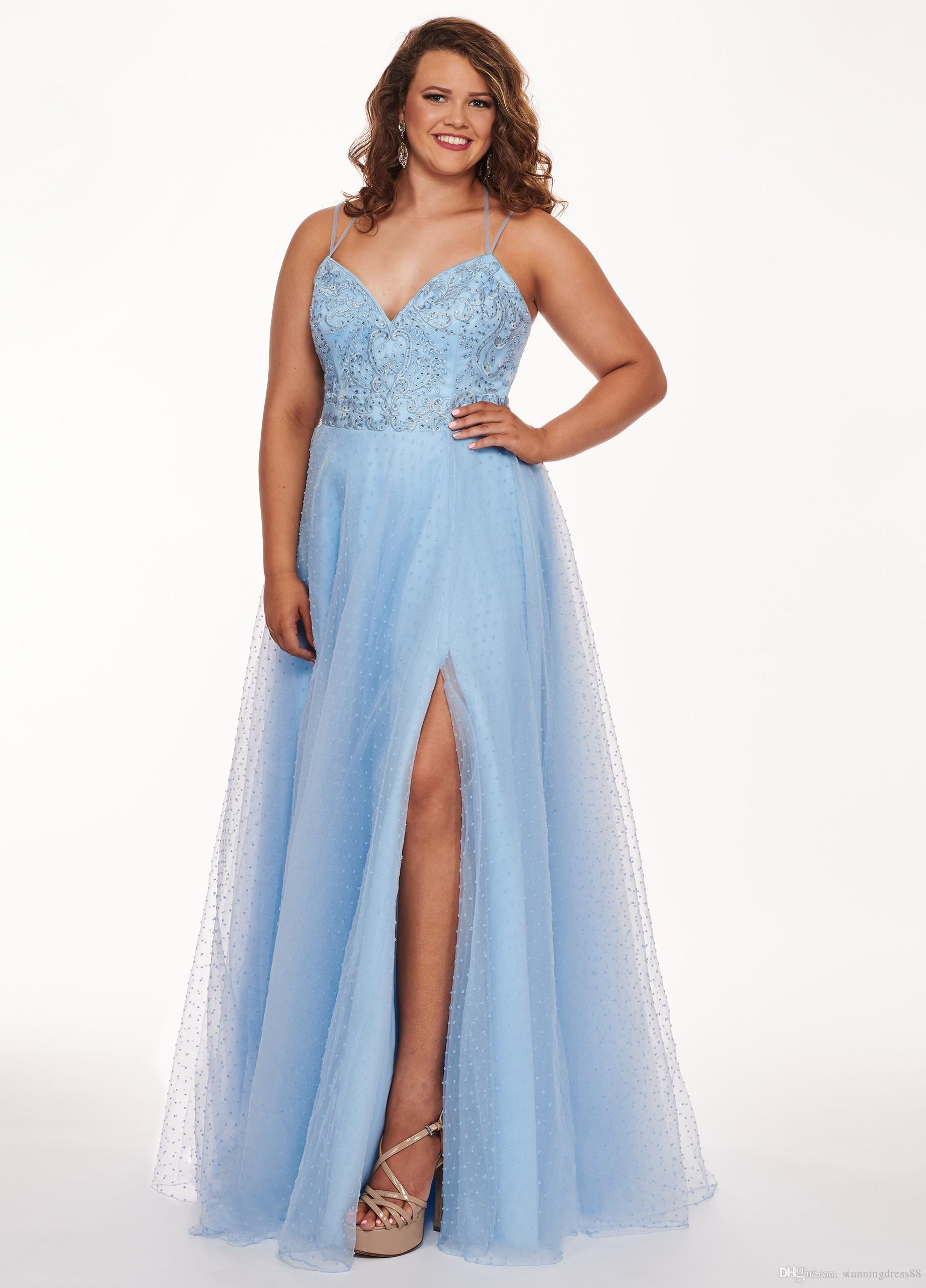 Fashion Light Blue Evening Prom Dress Plus Size Cheap With Spaghetti Straps  Tulle Crystal Sequins Beading 2019 Special Occasion Dress Cheap Patterns ...