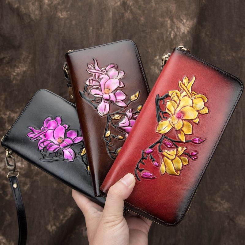 Women Long Wallet Genuine Leather Embossed ID Card Holder Clip Purse Clutch Bag