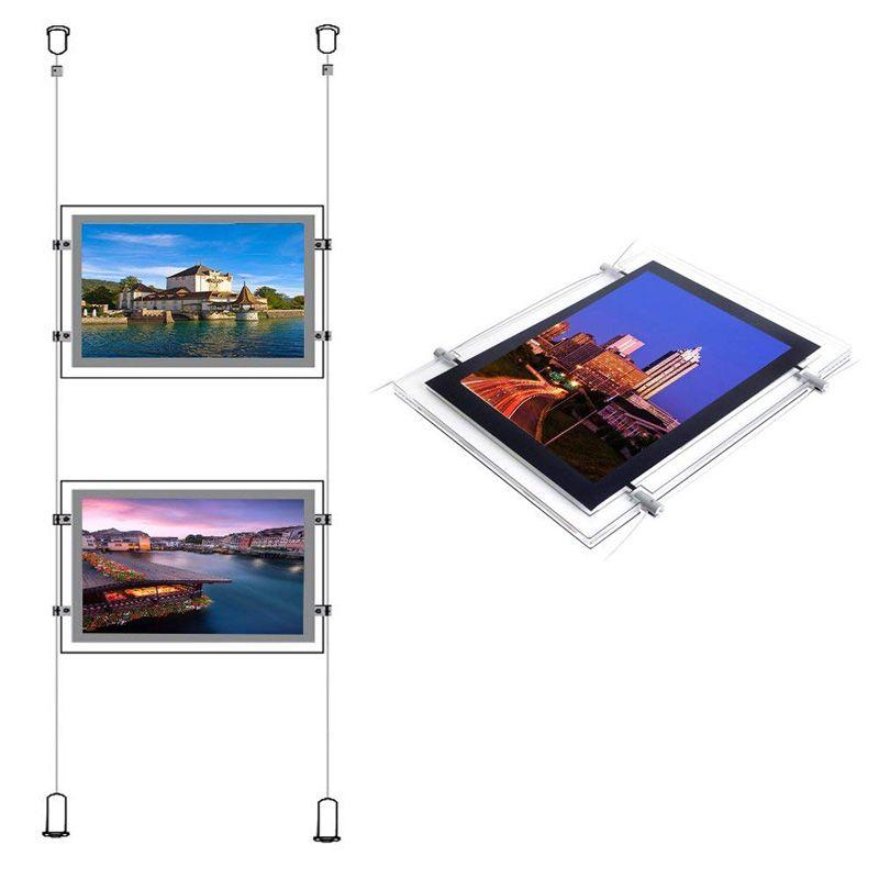 (1unit / colonne) A4 double face Galerie Hanging Systems, Led et fenêtre Affiche de propriété pour les agents immobiliers et des agences immobilières