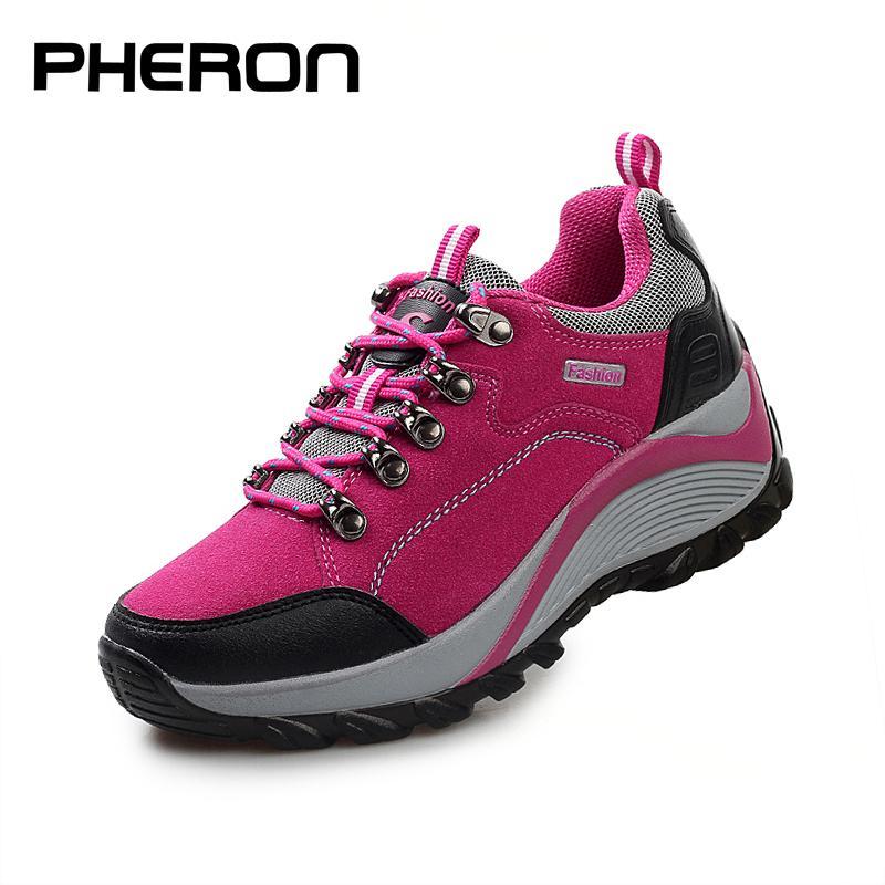 Femmes Bottes de randonnée semelle épaisse Rembourrage Chaussures Trekking Femme professionnelle Chaussures de sport d'escalade dames Big Taille Chunky Bottines
