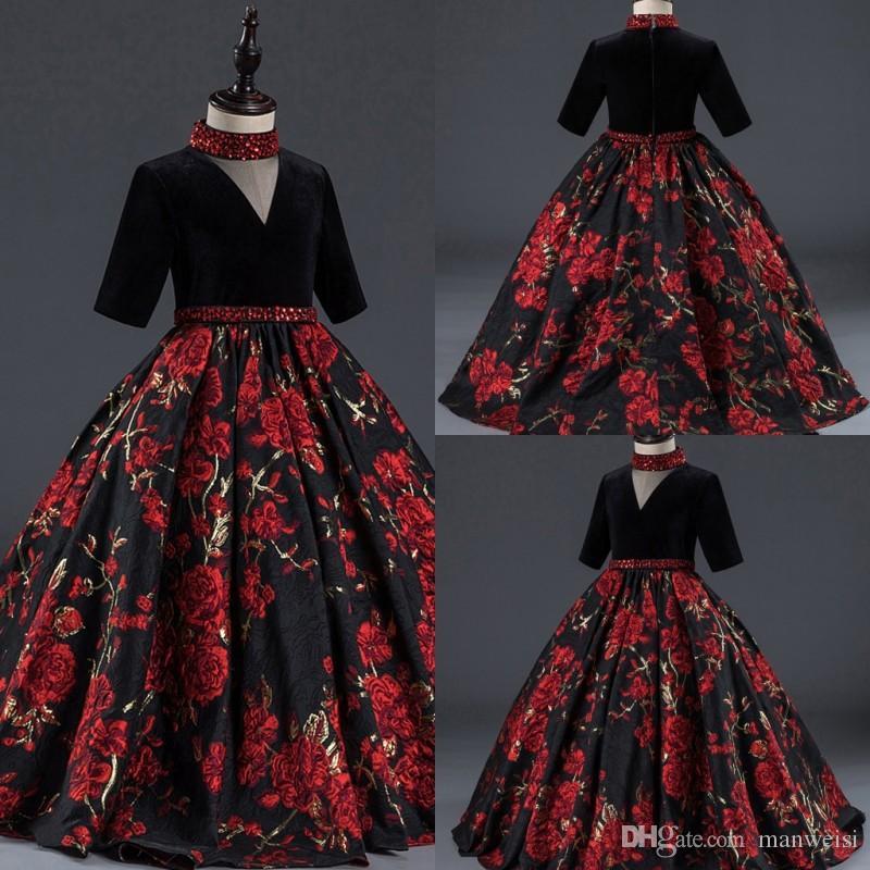 웨딩 브이 넥 절반 슬리브 비즈를위한 붉은 꽃의 소녀 드레스를 인쇄 여자 Pageant 가운 유아 어린이 생일 파티 드레스