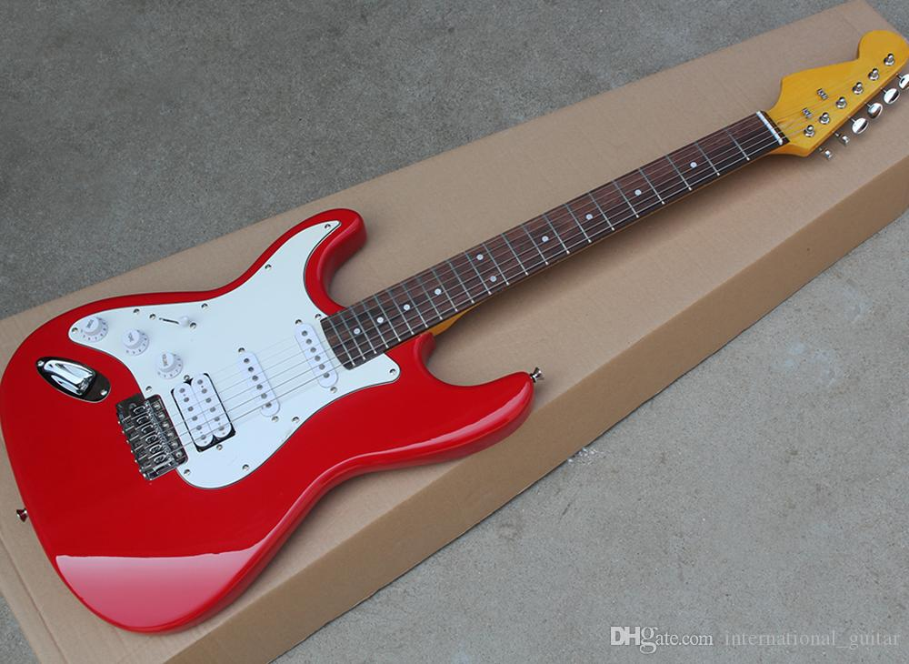 La guitarra eléctrica roja / rosa zurda con fretbook de palisandro, pickguard blanco, pastillas SSS, se puede personalizar como solicitud