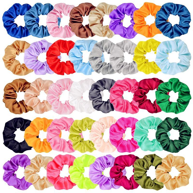 40 colori Scrunchies Donne Capelli Raso Band Capelli Circolo Girls Ponytail Holder Tie Anello Capelli Anello Elastico Corda elastica Accessori Xmas Regali Xmas C121008
