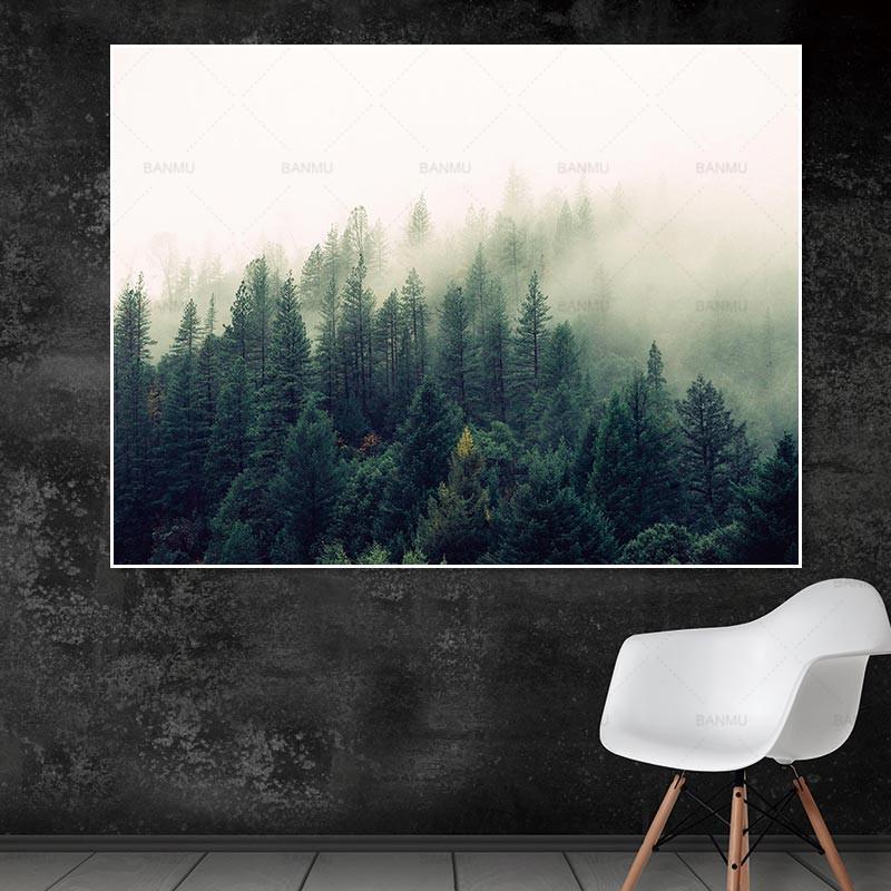 Salon tuval boyama manzara afişi orman resmi duvar sanatı ev dekorasyon resim duvar yazdırır