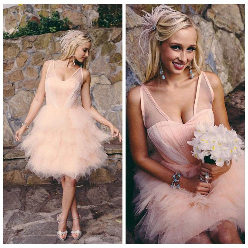 Discount Pastel Pink Wedding Dress Knee Length V Neck Colored Wedding Dresses For Sale Layered Tulle Skirt Short Wedding Dresses Vestidos De Noiva A Line Gown Affordable Bridal Gowns From Mirusponsawedding 117 63,Blush Pink Beach Wedding Dresses