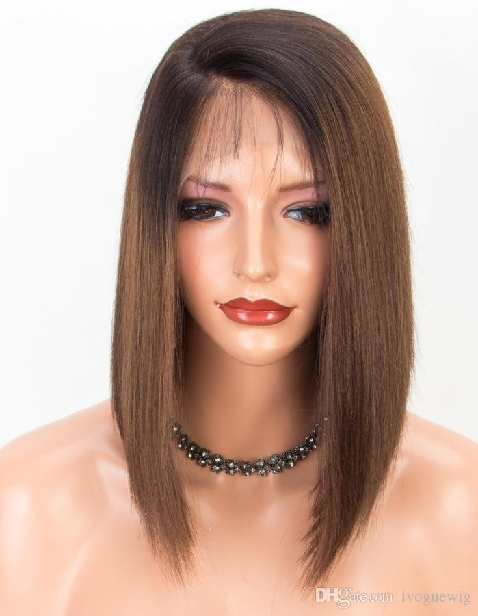 Koyu Kahverengi Tam Dantel Bob Peruk İnsan Saç Peruk Düz Kısa Bakire Malezya Saç Tutkalsız Dantel Açık Peruk Ombre İki Ton # 1B / 4.