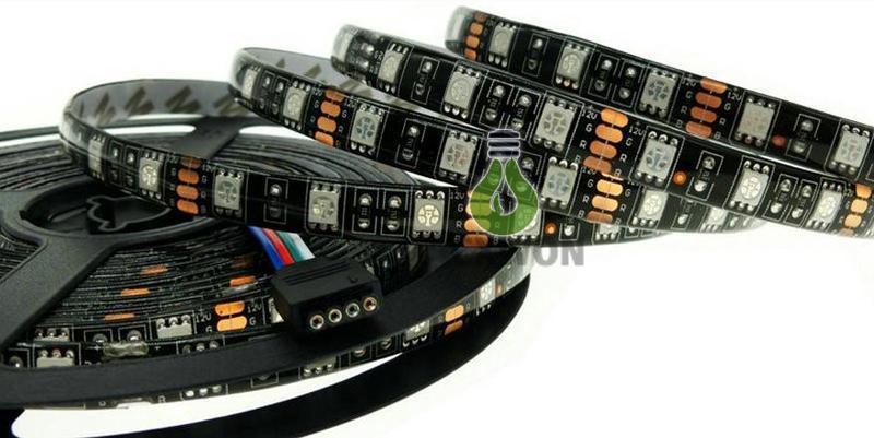 Siyah PCB kurulu 5050 led şerit Sıcak beyaz Beyaz RGB LED Şerit 5050 IP65 su geçirmez DC12V 300 LED'ler M esnek led bandı 60led