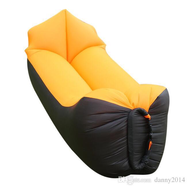 뜨거운 게으른 등 받침 침낭 빠른 풍선 접이식 공기 침대 휴대용 야외 캠핑 여행 잠 가방 공기 매트리스 침대 소파 의자